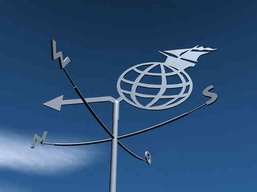weathervane sailing boat world globe
